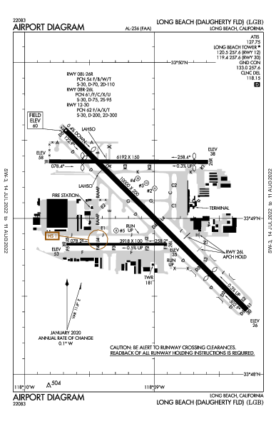 Daugherty Field Airport (لونغ بيتش، كاليفورنيا): KLGB Airport Diagram