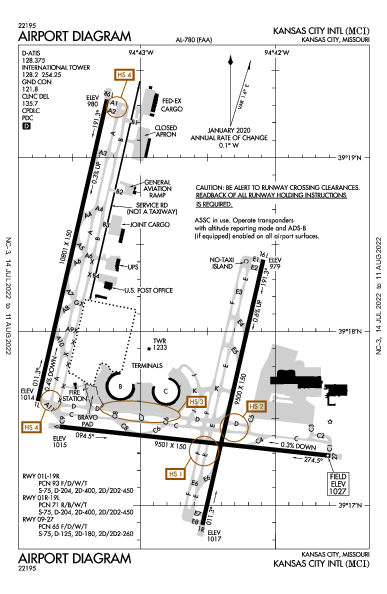 Kansas City Intl Airport (캔자스시티, 미주리 주): KMCI Airport Diagram