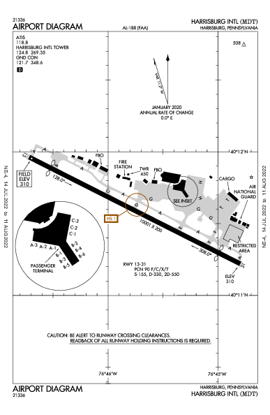 ハリスバーグ国際空港 Airport (Harrisburg, PA): KMDT Airport Diagram