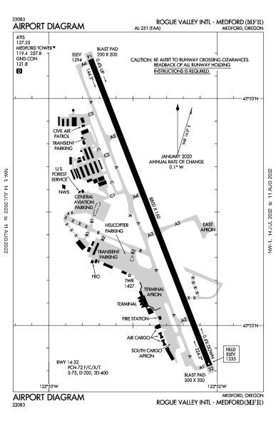 Rogue Valley Intl Airport (Medford, OR): KMFR Airport Diagram