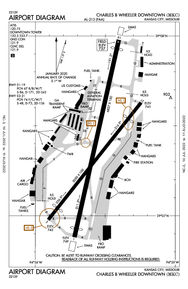 Wheeler Downtown Airport (Kansas City, MO): KMKC Airport Diagram