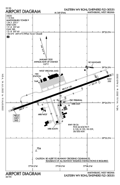Eastern WV Rgnl Airport (Martinsburg, WV): KMRB Airport Diagram