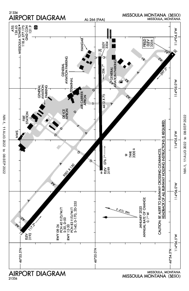 Missoula Intl Airport (米蘇拉, 蒙大拿州): KMSO Airport Diagram