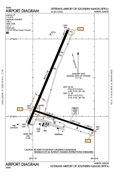 Veterans Airport of Southern Illinois Airport (Marion, IL): KMWA Airport Diagram