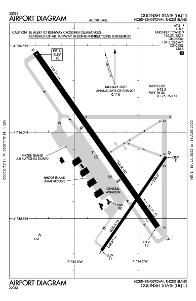 Quonset State Airport (North Kingstown, RI): KOQU Airport Diagram