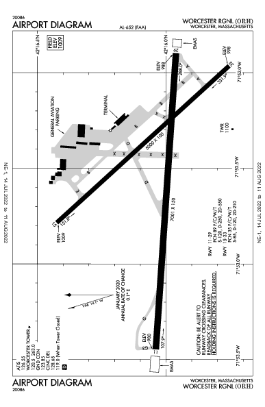 Worcester Rgnl Airport (Worcester, MA): KORH Airport Diagram