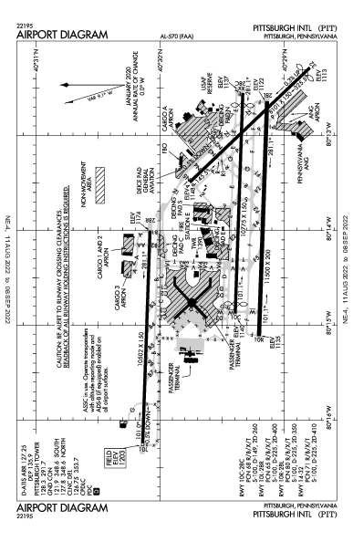 Int'l de Pittsburgh Airport (Pittsburgh, PA): KPIT Airport Diagram