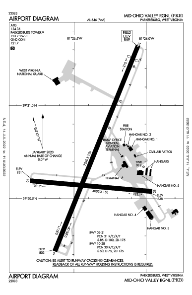 Mid-Ohio Valley Rgnl Airport (Parkersburg, WV): KPKB Airport Diagram