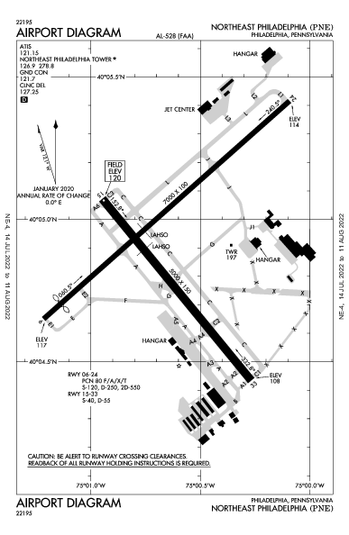 Northeast Philadelphia Airport (フィラデルフィア): KPNE Airport Diagram