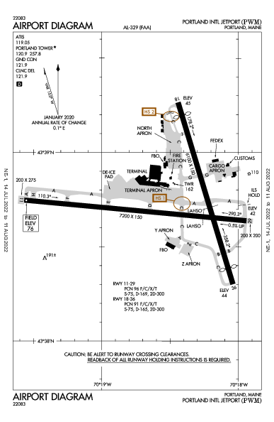Portland Intl Jetport Airport (Портленд, Мэн): KPWM Airport Diagram