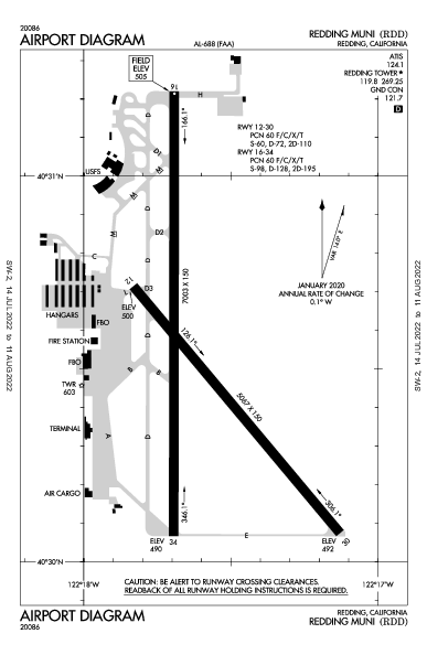 Redding Muni Airport (Redding, CA): KRDD Airport Diagram