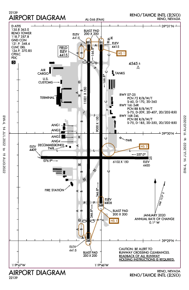 Reno/Tahoe Intl Airport (Рино): KRNO Airport Diagram