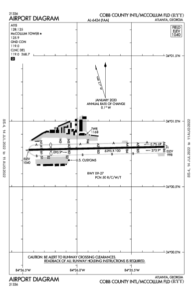 Cobb County  Airport (אטלנטה): KRYY Airport Diagram