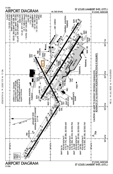 Int'l de Lambert-Saint Louis Airport (Saint-Louis, Missouri): KSTL Airport Diagram