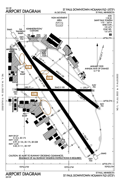St Paul Holman Fld Airport (セントポール, ミネソタ州): KSTP Airport Diagram