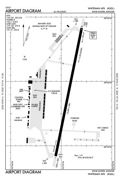Whiteman Afb Airport (Knob Noster, MO): KSZL Airport Diagram