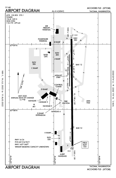 Mcchord Field (Joint Base Lewis-Mcchord) Airport (Tacoma, WA): KTCM Airport Diagram