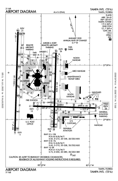 タンパ国際空港 Airport (Tampa, FL): KTPA Airport Diagram