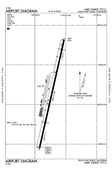 Lake Tahoe Airport (South Lake Tahoe, CA): KTVL Airport Diagram