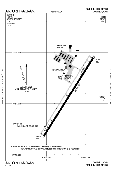 Bolton Field Airport (Columbus, OH): KTZR Airport Diagram
