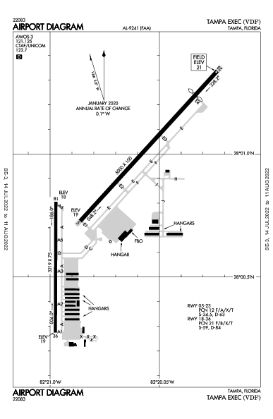 Tampa Executive Airport (טמפה): KVDF Airport Diagram