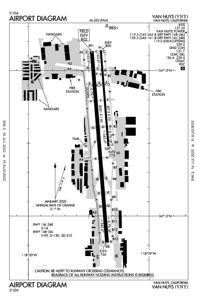 ヴァン・ナイズ空港 Airport (Van Nuys, CA): KVNY Airport Diagram