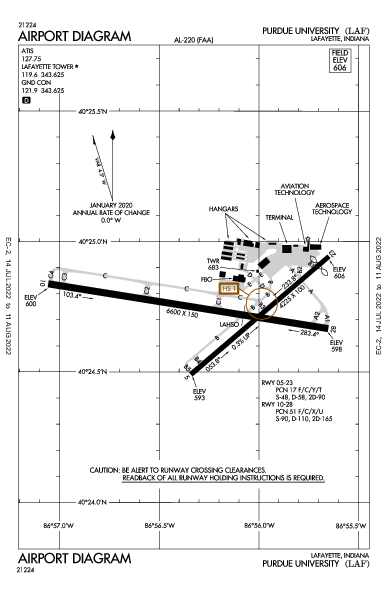 Purdue University Lafayette, IN (KLAF): AIRPORT DIAGRAM (APD)