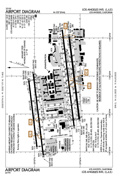 Лос-Анджелес Los Angeles, CA (KLAX): AIRPORT DIAGRAM (APD)