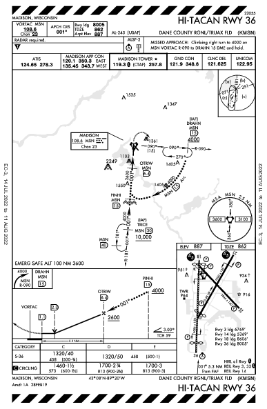 Dane Co Rgnl Madison, WI (KMSN): HI-TACAN RWY 36 (IAP)