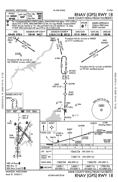 Dane Co Rgnl Madison, WI (KMSN): RNAV (GPS) RWY 18 (IAP)
