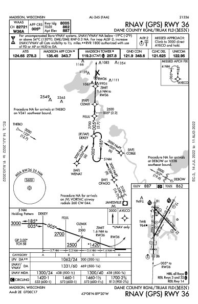 Dane Co Rgnl Madison, WI (KMSN): RNAV (GPS) RWY 36 (IAP)