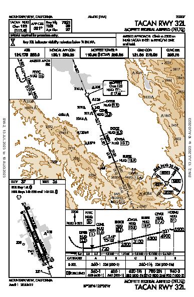 Moffett Federal Afld Mountain View, CA (KNUQ): TACAN RWY 32L (IAP)