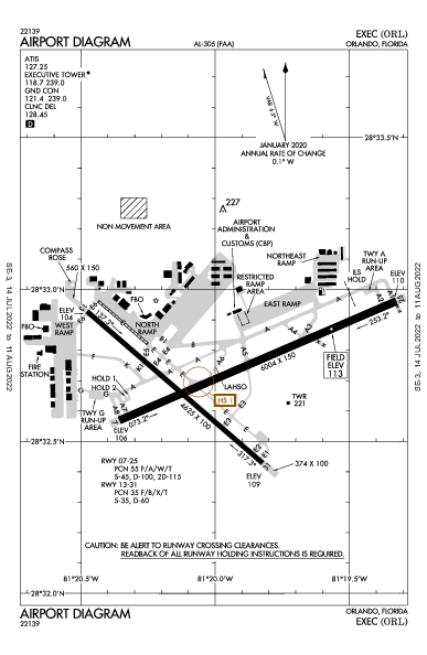 Executive Orlando, FL (KORL): AIRPORT DIAGRAM (APD)