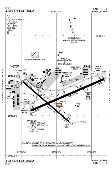 Executive Орландо, Флорида (KORL): AIRPORT DIAGRAM (APD)