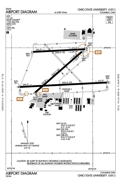 Ohio State University קולומבוס, אוהיו (KOSU): AIRPORT DIAGRAM (APD)