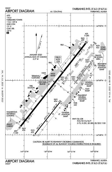 フェアバンクス国際空港 Airport (Fairbanks, AK): PAFA Airport Diagram