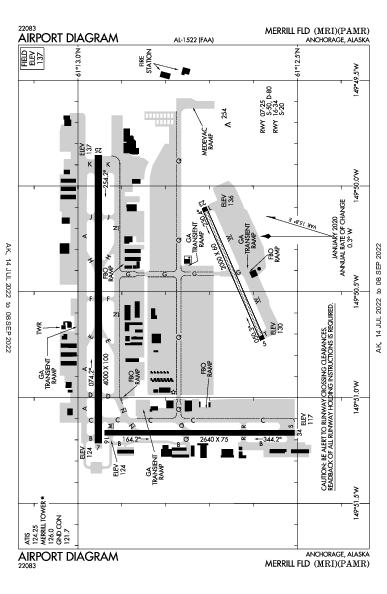 Merrill Field Airport (앵커리지): PAMR Airport Diagram