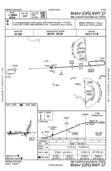Pike County-Hatcher Field بايكسفيل، كنتاكي (KPBX): RNAV (GPS) RWY 27 (IAP)