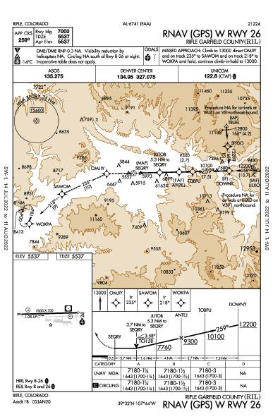 Garfield County Rgnl Rifle, CO (KRIL): RNAV (GPS) W RWY 26 (IAP)