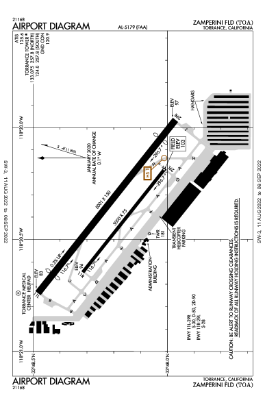 Zamperini Field Torrance, CA (KTOA): AIRPORT DIAGRAM (APD)