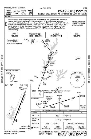 Raleigh Exec Jetport At Sanford-Lee County Sanford, NC (KTTA): RNAV (GPS) RWY 21 (IAP)