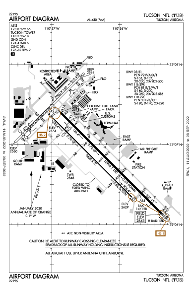 Tucson Intl 투산 (KTUS): AIRPORT DIAGRAM (APD)
